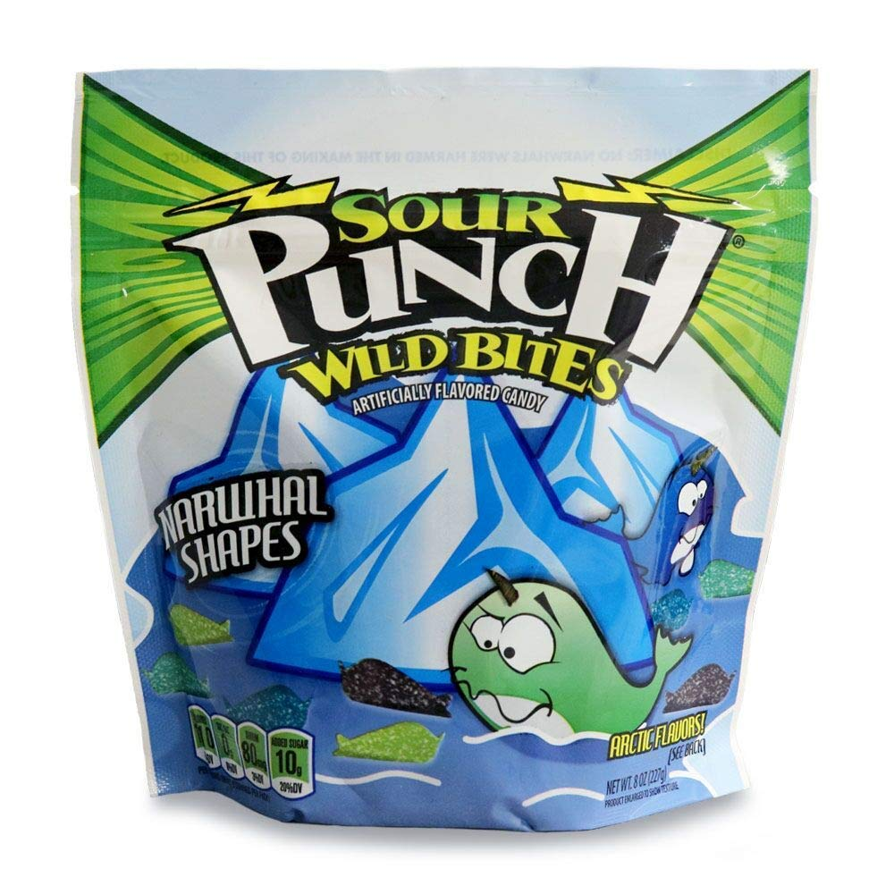 Sour Punch Wild Bites Narwhal Shapes, Assorted Flavor Soft & Chewy Candy, 9oz