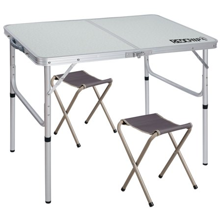 Redcamp 3 Ajule Folding Table With 2 Chairs Centerfold Alumimum Portable Camping For Ourdoor Or Indoor Use White X2