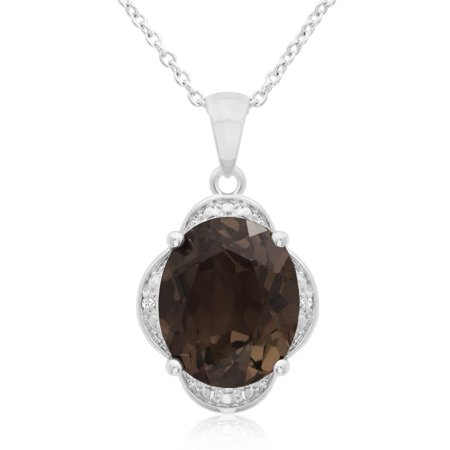 - 4 Carat Smoky Quartz And Diamond Necklace, 18 Inches