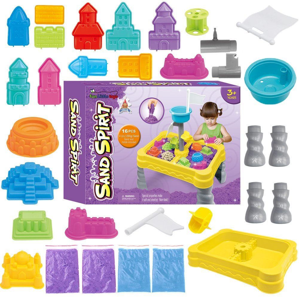 Water Sand Table Play Sets for Kids with Magic Sand Multiple Castle Model and Creative Sand Molding Educational Toy DIY... by Fun Little Toys