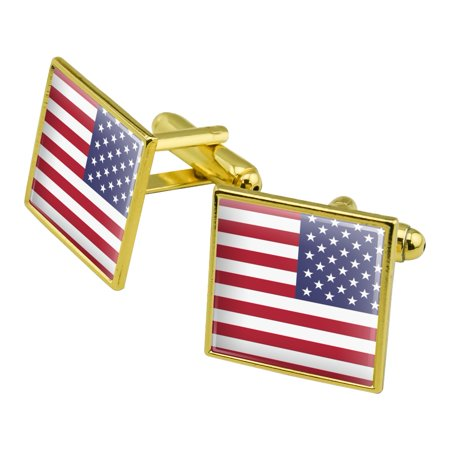 Reversed USA American Flag Red White Blue Military Square Cufflink Set - Silver or Gold Pave White Gold Cufflinks