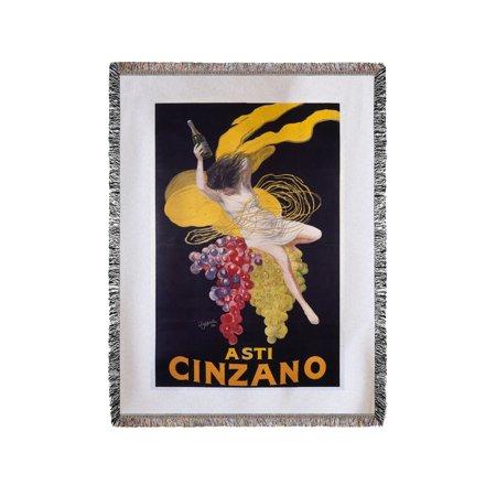 Cinzano  Asti  Girl W   Grapes  Vintage Poster  Artist  Cappiello  Leonetto  France  60X80 Woven Chenille Yarn Blanket