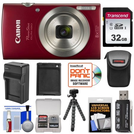 Canon PowerShot Elph 180 Digital Camera (Red) with 32GB Card + Battery + Charger + Case + Flex Tripod + Reader + Kit