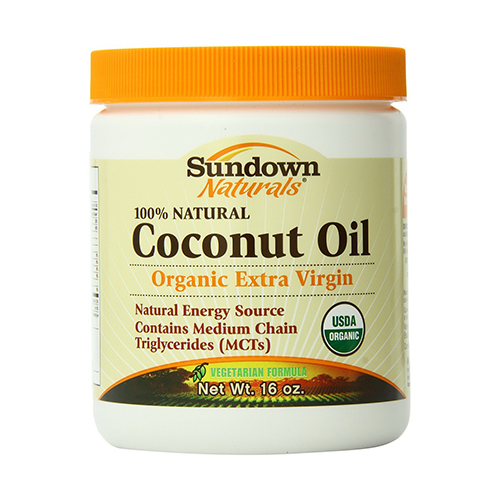 Sundown 100% Natural Organic Extra Virgin Coconut Oil - 16 Oz, 6 Pack
