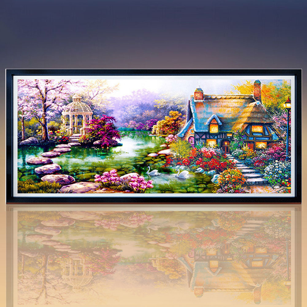 Girl12Queen DIY 5D Diamond Mosaic Landscapes Garden Lodge Painting Cross Stitch Kit Decor