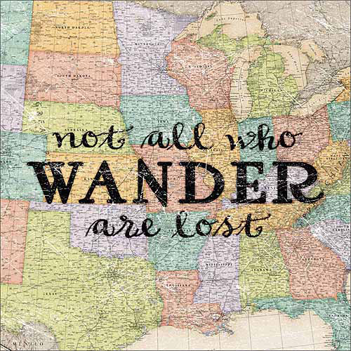 Wanderers Vintage Antique USA Map Inspirational Typography Tan & Blue Canvas Art by Pied Piper Creative