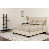 Flash Furniture Riverdale King Size Tufted Upholstered Platform Bed in Beige Fabric with Memory Foam Mattress