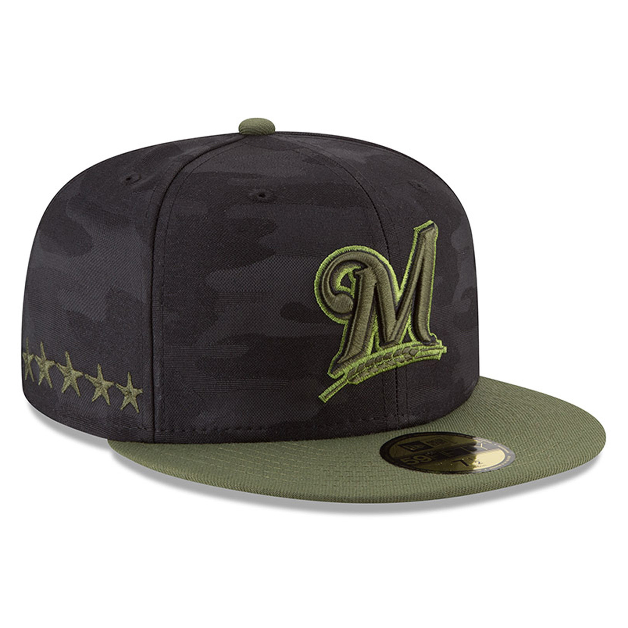 Milwaukee Brewers New Era 2018 Memorial Day On-Field 59FIFTY Fitted Hat - Black - 6 7/8