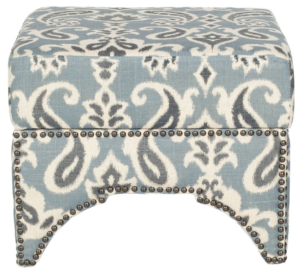 Square Ottoman with Brass Nail Heads