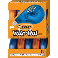BIC Wite-Out Brand EZ Correct Correction Tape, 10-Count, White, Film-Based Tape for Added Strength