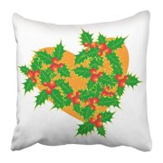 BPBOP Green Ball Christmas Wreath For Holly Red Berry Pillowcase 16x16 inch