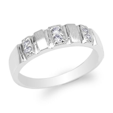 Womens 10K White Gold Round CZ Fancy Wedding Band Ring Size 4-10