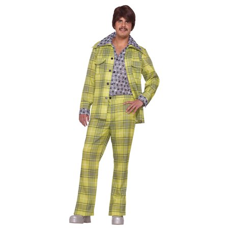 Leisure Suit 70's Plaid Adult Halloween Costume - One Size for $<!---->