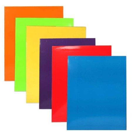 JAM Paper Laminated Two Pocket Glossy Folders, Assorted Primary Colors, 6/pack - Friction Feed Paper Folder