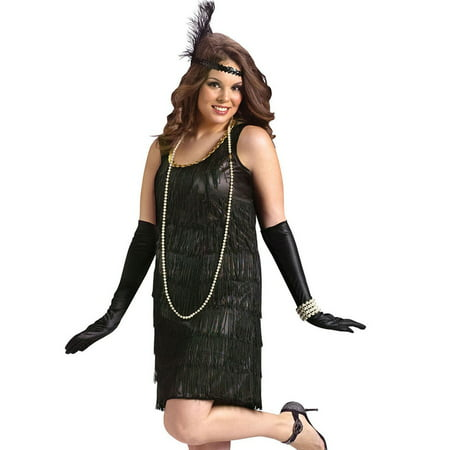 Flapper Adult Plus Halloween Costume, Size: Women's 16-20 - One Size - Flapper Dress Plus Size Cheap