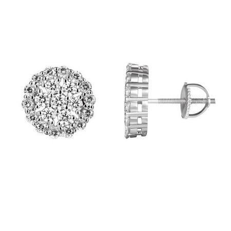 Men S Sterling Silver Solitaire Flower Cer Stud Custom Earrings