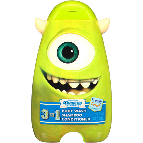 Disney Pixar Monster University Scary Berry/Freaky Fruit/Wacky Bubble Gum 3 in 1 Body Wash, Shampoo & Conditioner, 14 fl oz (Character and Scent Will Vary)