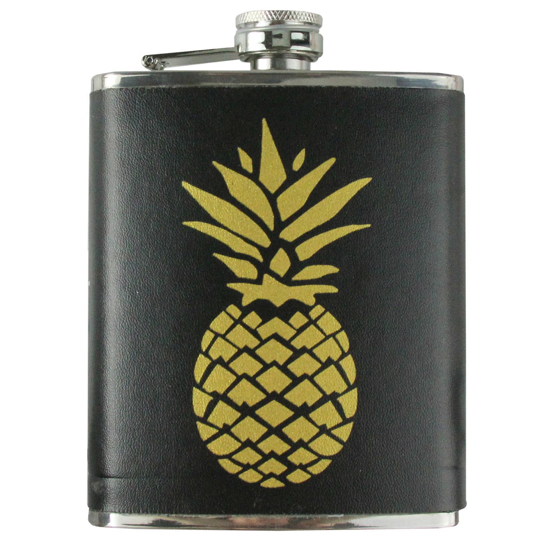 3-Piece Black and Metallic Gold Tropical Pineapple Flask and Shot Glass Set - image 1 de 2
