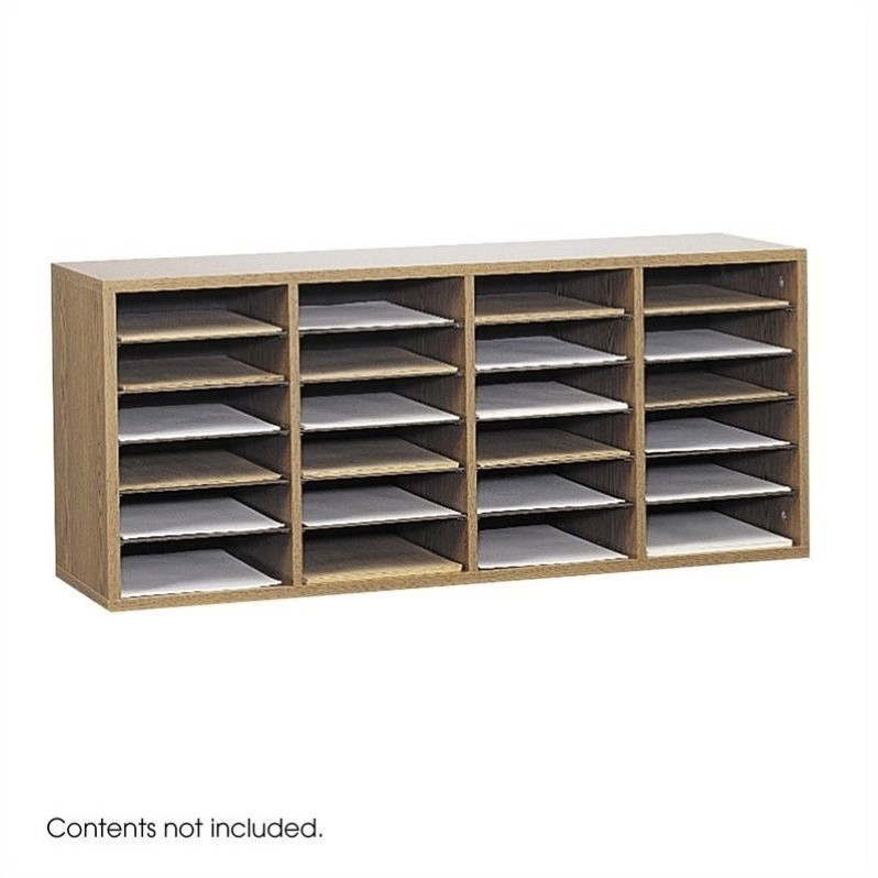 Scranton & Co Medium Oak 24 Compartment Wood Adjustable File Organizer