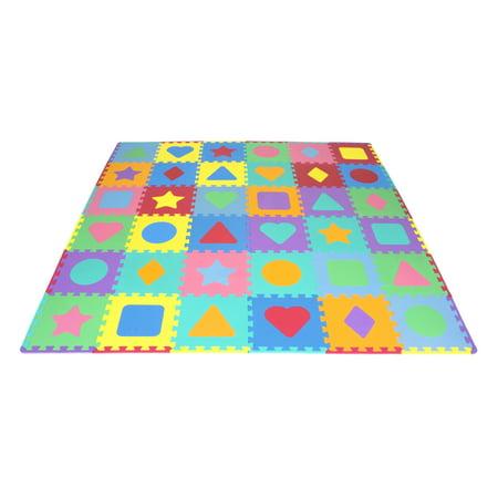 ProSource Kids Foam Puzzle Floor Play Mat with Shapes & Colors 36 Tiles, 12