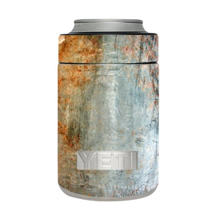 Skin Decal For Yeti 12 Oz Rambler Colster Can Cup / Rusted Steel Metal Plate Grey