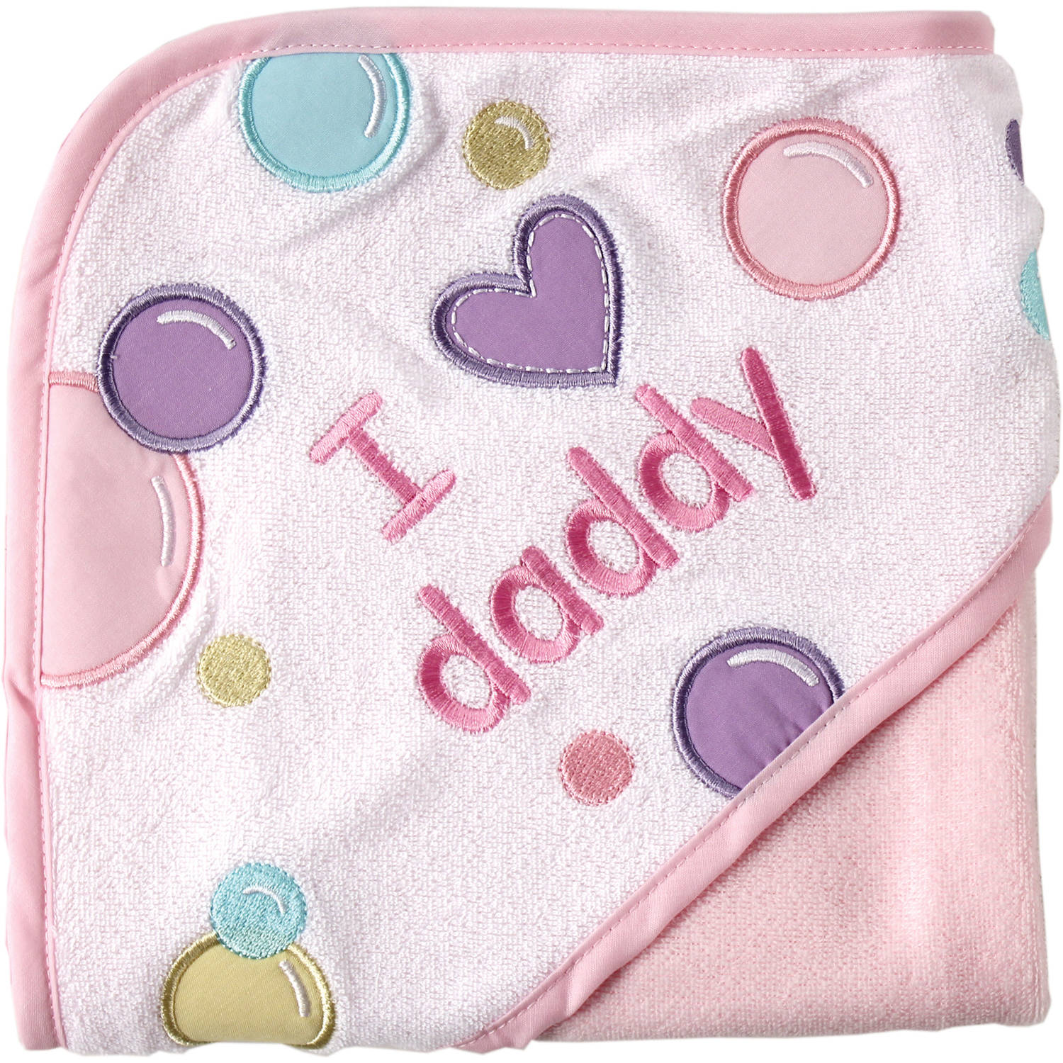 Luvable Friends Baby Girl Hooded Towel, Choose I Love Mommy or Daddy