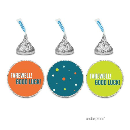 Farewell Retirement Party Decorations, Farewell! Good Luck! Chocolate Drop Labels , Hershey's Kisses Favors, 216-Pack