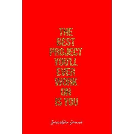 Inspiration Journal: Dot Grid Journal - The Best Project You'Ll Ever Work On Is You Inspiration Quote Work - Red Dotted Diary, Planner, Gra