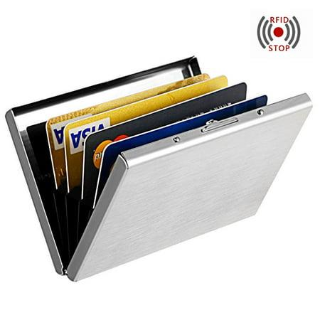 Silver Anti-scan Stainless Steel Case Slim RFID Blocking Wallet ID Credit Card Holder (Steel Wallet)