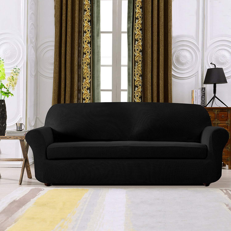 Subrtex 2-Piece Spandex Stretch Slipcover (Sofa, Gray)