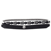 Lux Accessories Black Crystal Rhinestone Lace Grosgrain Pearl Choker Set 3PCS