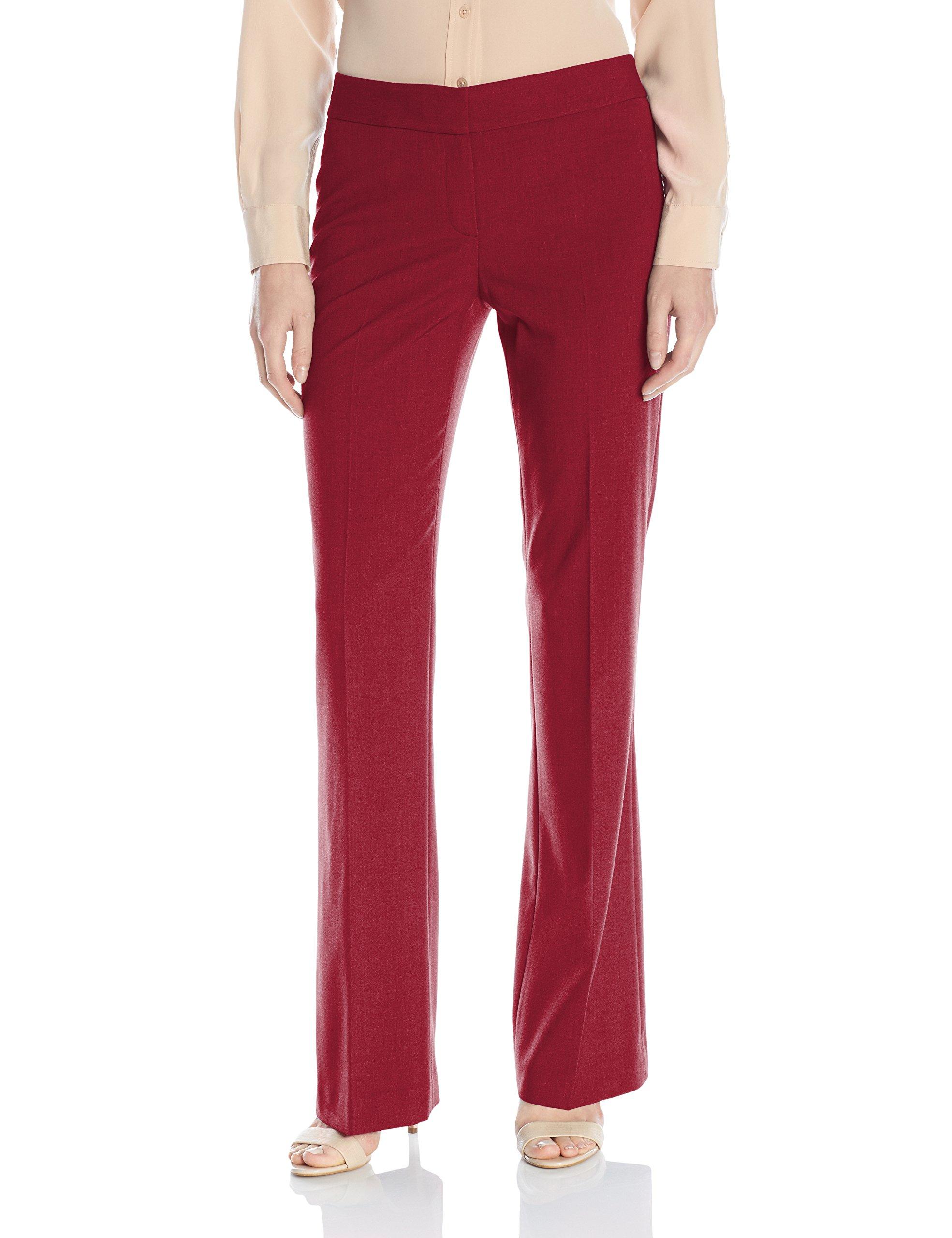 Dark Red Womens Wide-Leg Dress Pants Stretch $79 16
