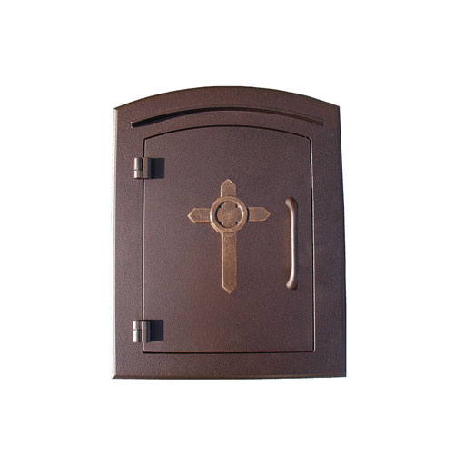 Manchester Antique Copper NonLocking Decorative Cross Logo Door Column  Mount Mailbox Column Mount Mailbox K34