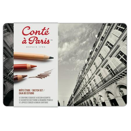 Conte Conté Pastel Pencil Set, 12-Color Sketch Set