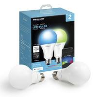 Merkury Innovations A21 Smart Light Bulb, 75W Color LED, 2-Pack