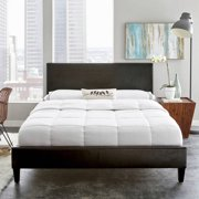 premier zurich faux leather queen black upholstered platform bed frame with bonus base wooden slat system