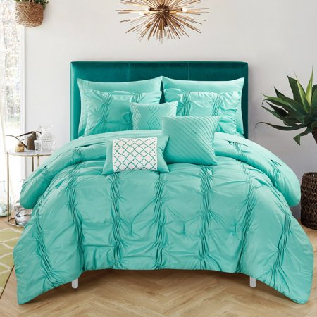 Chic Home 10-Piece Luna Pinch Pleated, ruffled and pleated complete Queen Bed In a Bag Comforter Set Turquoise Sheets set and Decorative pillows included ()
