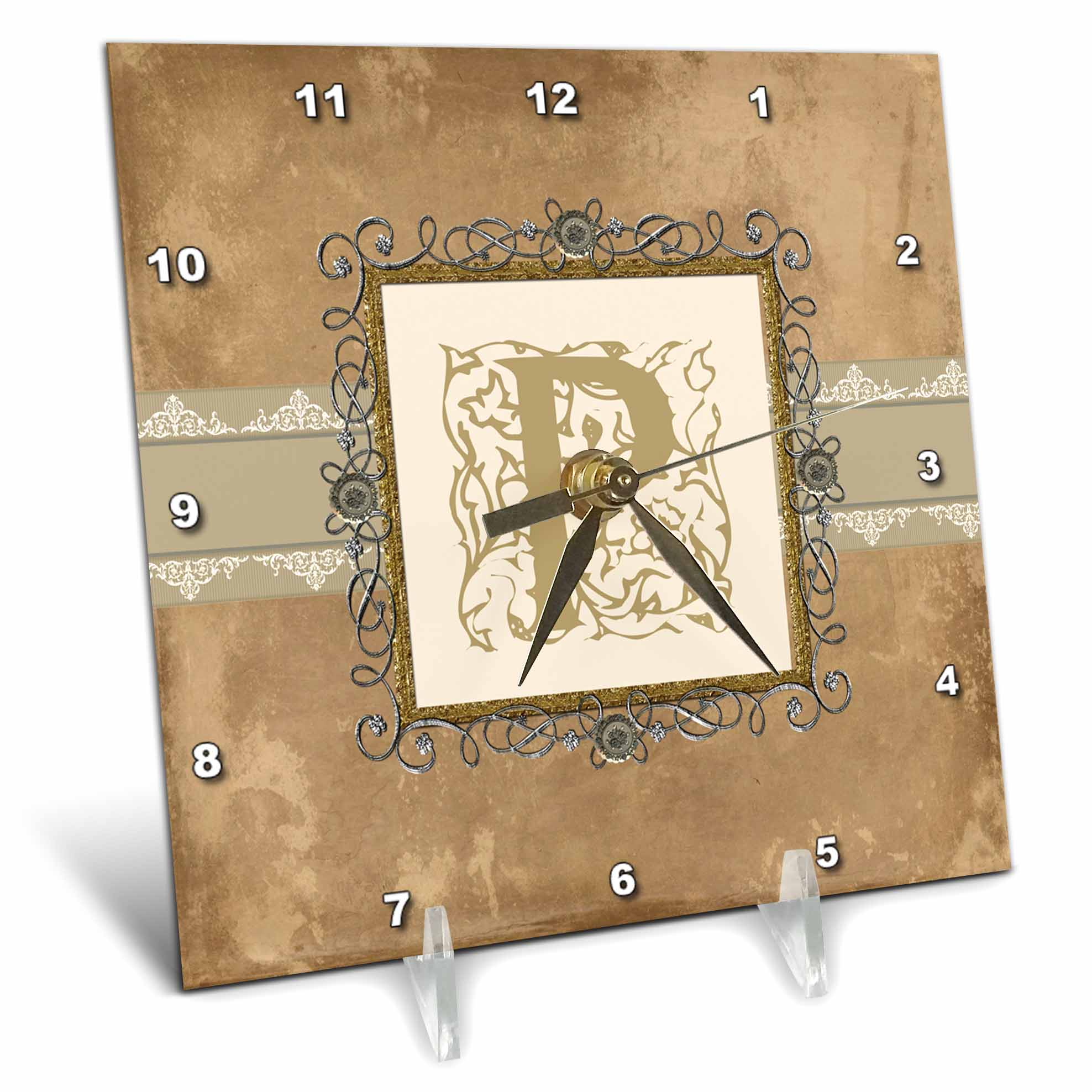 3dRose P Initial Vintage Elegant Vines and Flowers in Sepia and Pewter Look, Desk Clock, 6 by 6-inch by 3dRose