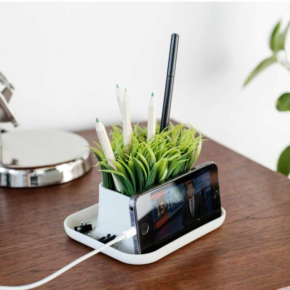 Kikkerland Desktop Fake Potted Grass Plant Pen Phone Stand Desk Organizer Com