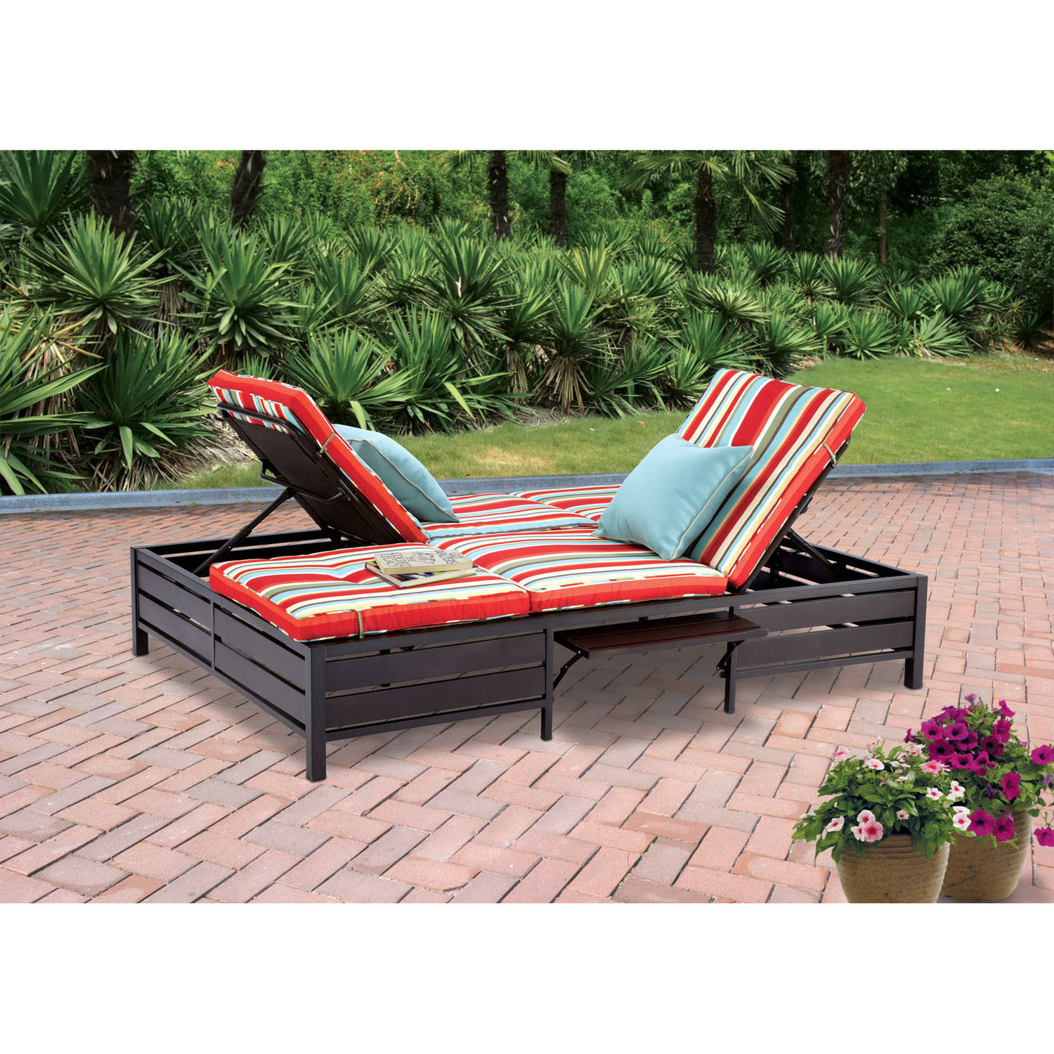 Mainstays Outdoor Double Chaise Lounger Stripe Seats 2 Walmart Com