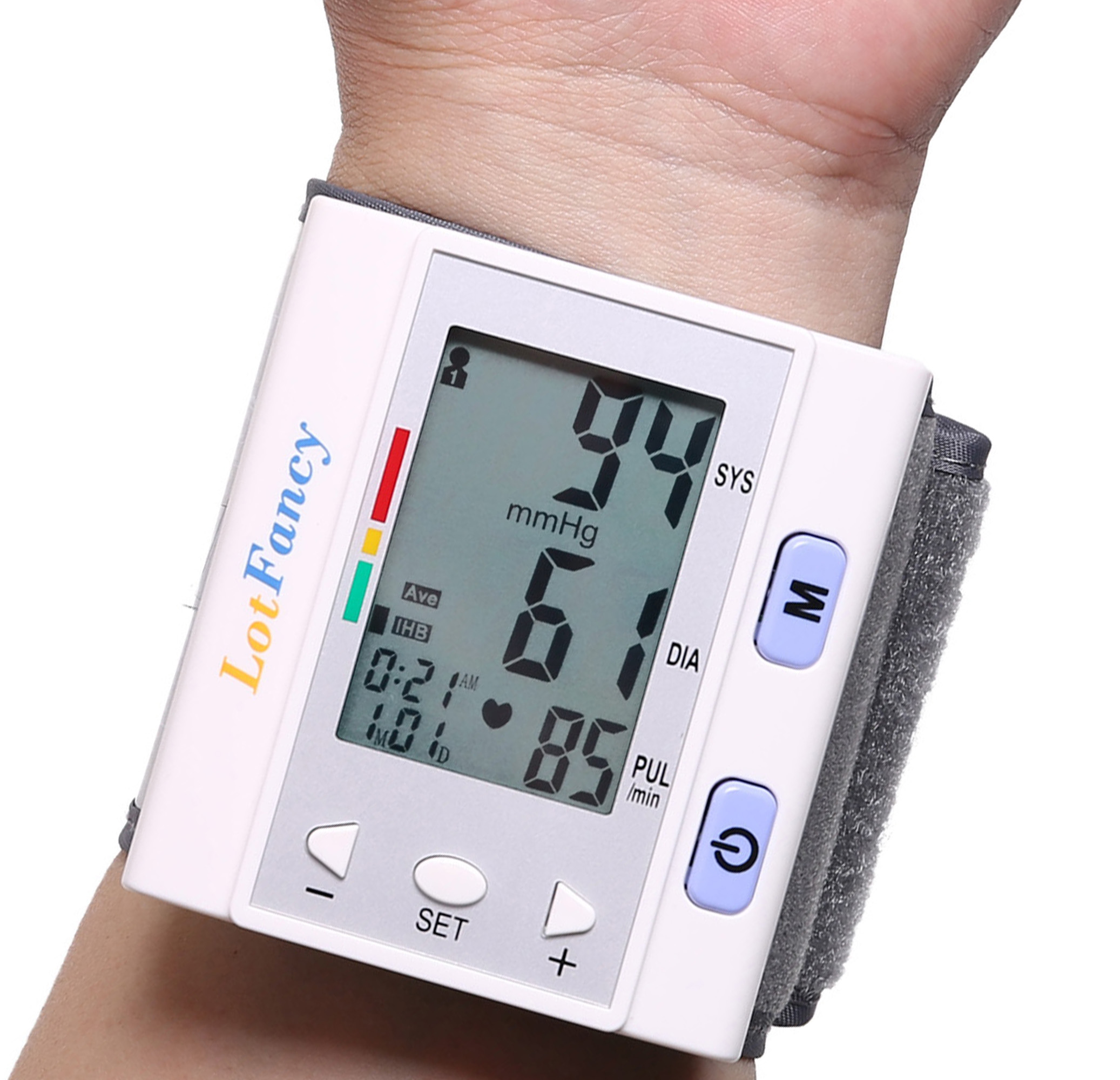 LotFancy Blood Pressure Monitor Wrist Cuff - Automatic Digital BP Machine with Irregular Heartbeat Detector - Portable for 4 User Home Use, FDA Approved