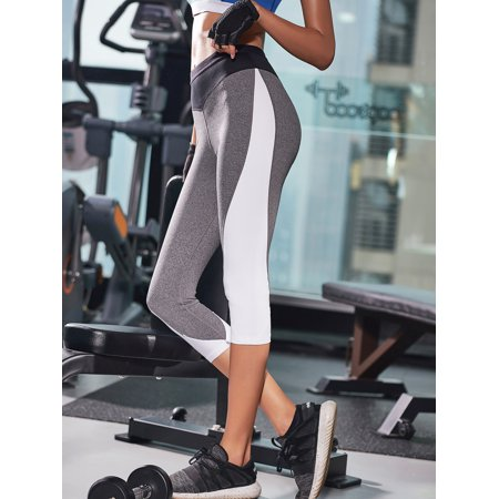4b28854b565eb Curve Muse - Curve Muse Sports Cropped Yoga Pants for Women – Slim Workout  Fitness Wear – 2 Pack-Gray, White - Walmart.com