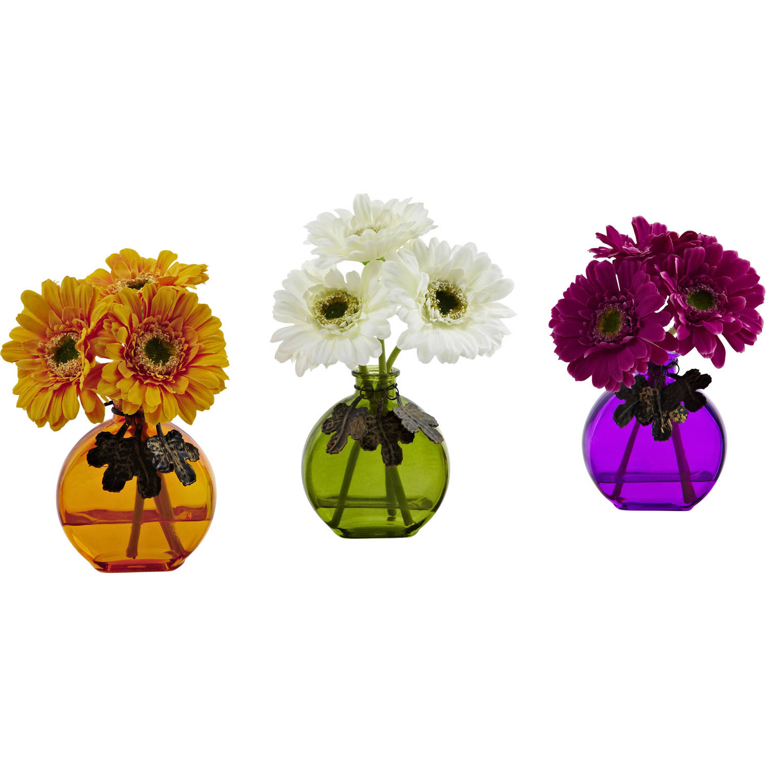 Nearly Natural Gerber Daisy with Colored Vase (Set of 3)