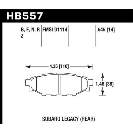 Hawk 2013-2014 Subaru BRZ Ltd (277mm Fr Disc/Solid Rr Disc) High Perf. Street 5.0 Rear Brake Pads