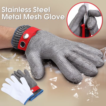 Professional Safety Anti-cutting Gloves,Cut Proof Stab Resistant Stainless Steel Metal Mesh Butcher Glove High Performance Level 5 Protection + A Pair White Cotton Gloves (Butchers Stainless Steel Glove)