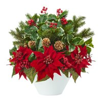 18? Poinsettia, Holly Leaf and Pine Artificial Arrangement in White Vase