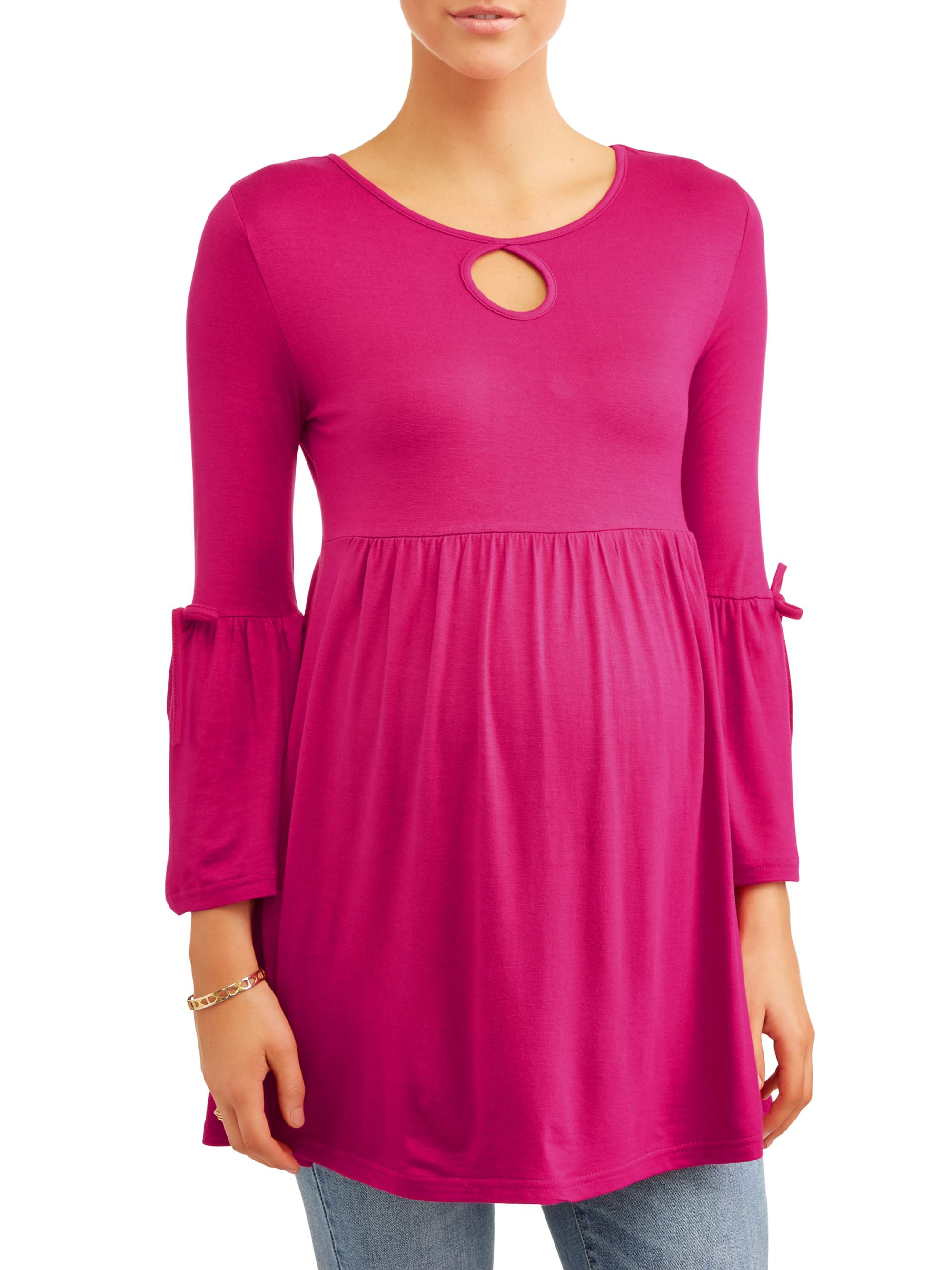 Maternity Key Hole Bell Sleeve Baby Doll Top - Available in Plus Sizes