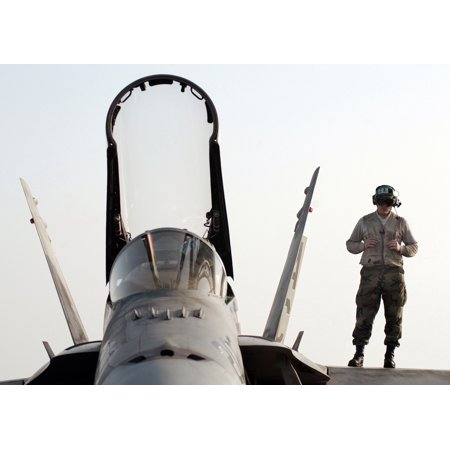 (LAMINATED POSTER A Marine stands on the wing of an F/A-18A+ Hornet assigned to the Silver Eagles of Marine Fighter Poster Print 24 x 36)
