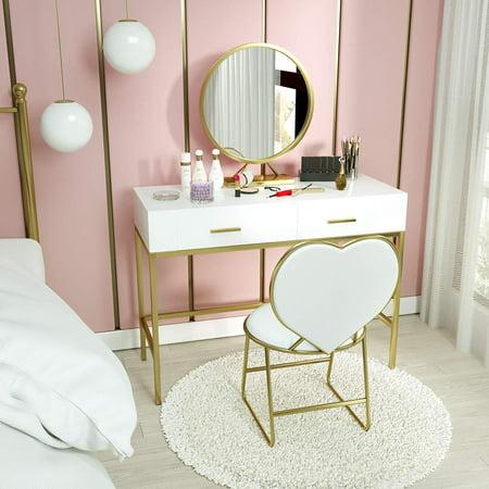 Mecor Vanity Table Set with Mirror,White Vanity Desk Wood ...
