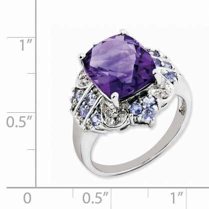 925 Sterling Silver Purple Amethyst Blue Tanzanite Diamond Band Ring Size 7.00 Gemstone Fine Jewelry For Women Gifts For Her - image 2 of 6